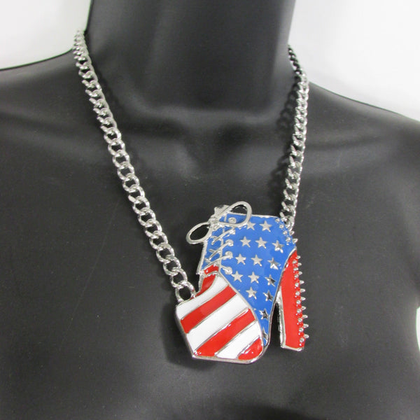 Large Metal High Heels Shoes Pendant Fashion Chains Gold / Silver Rhinestones American Flag USA Stars Necklace + Earrings Set - alwaystyle4you - 12