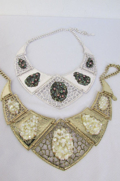 Silver / Gold Stones Metal Plates Classic Necklace + Earrings Set New Women Fashion - alwaystyle4you - 13