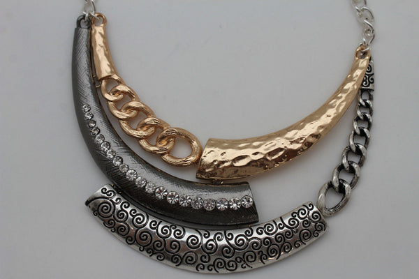 Gold Black / Silver Black Metal Plate Half Moon Necklace Chains + Earrings Set New Women Fashion Jewelry - alwaystyle4you - 7