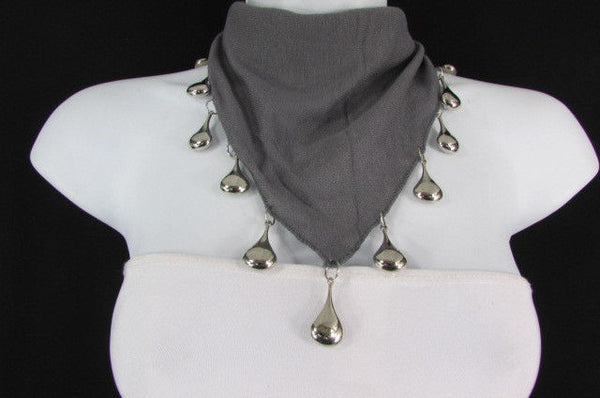 Solid New Women Scarf Fashion Necklace Gray Short Fabric Neck Multi Silver Drops Beads - alwaystyle4you - 7
