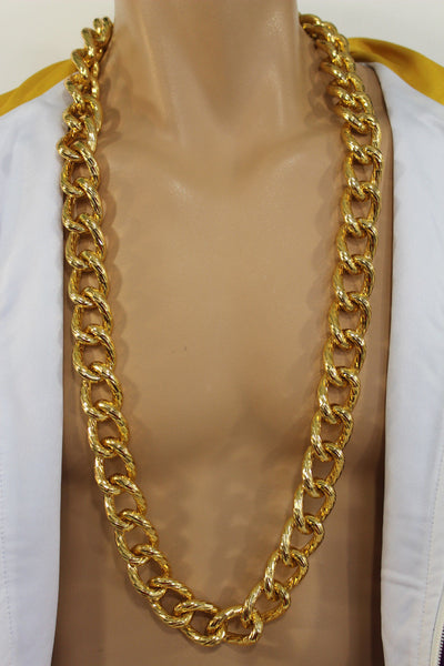 Chunky Metal Thick Chain Links Heavy Long Necklace Gold Hip Hop New Men Biker Fashion - alwaystyle4you - 4