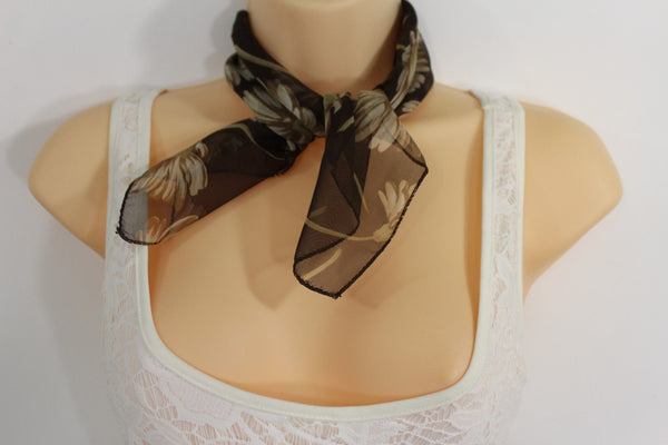 Dark Green Brown Small Neck Soft Scarf Fabric White Flower Pocket Square New Women Fashion - alwaystyle4you - 7