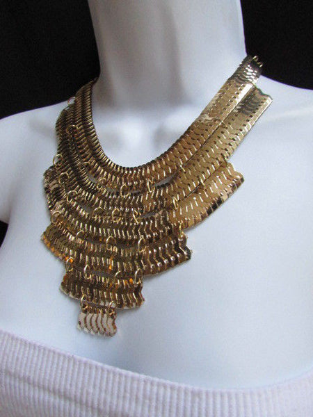 Wide 6 Strands Gold Links Chains Metal Statement Necklace + Matching Earrings Set New Women - alwaystyle4you - 7