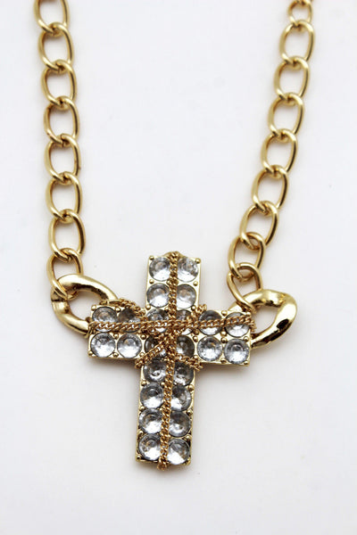 Gold Or Silver Metal Chains Cross Pendant Short Necklace Earring Set New Women Fashion Jewelry Accessories