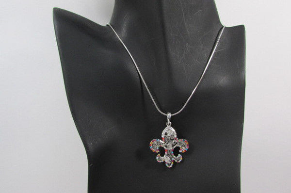 Silver Metal Fleur De Lis Lily Flower Bull Colorfull Rhinestones/ Silver Necklace New Women Fashion - alwaystyle4you - 7