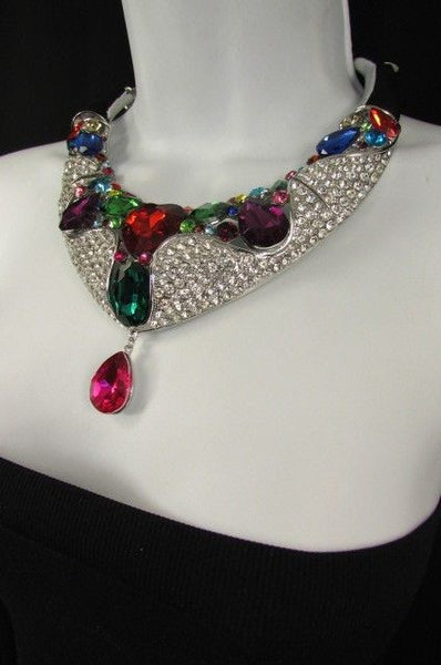 Silver Metal Multicolor Alloy Charm Bib Necklace New Women Fashion Jewelry - alwaystyle4you - 9