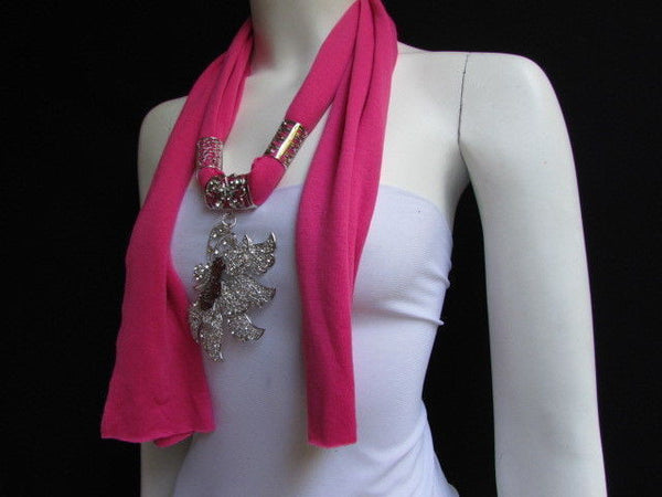Pink Blue Black Brown Bright Coral Soft Fabric Scarf Long Necklace Big Silver Butterfly Pendant New Women Fashion - alwaystyle4you - 8