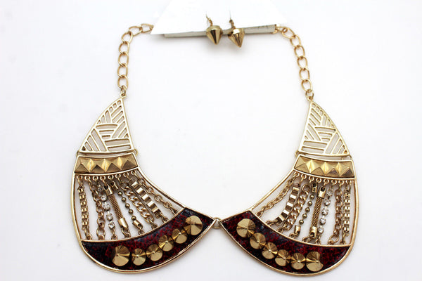 Bronze / Gold Short Bib Metal Chains Collar Spikes Necklace + Earrings Set New Women Fashion Jewelry - alwaystyle4you - 8