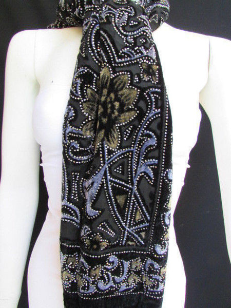 Women Scarf Black Multi Colors Big Flowers Faux Velvet European Stylish Shades - alwaystyle4you - 7