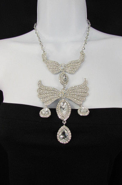Metal Flying Wings Gold Silver Rhinestones Necklace + Earrings set New Women Fashion - alwaystyle4you - 12
