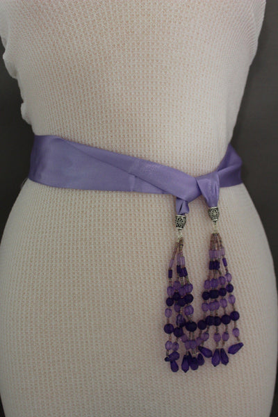 Cream - Off White / Light Purple / Green Long Tie Fringe Beads Hip Waist Belt Scarf New Women Fashion Accessories - alwaystyle4you - 25