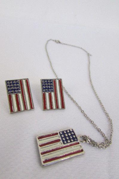 USA American Flag Star/Square/Heart Silver Metal Necklace + Matching Earring Set New Women - alwaystyle4you - 32