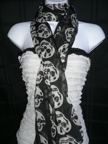 New Women Black Scarf Gray Beautiful Skulls Skeleton Drawing Soft 100% Polyester - alwaystyle4you - 7