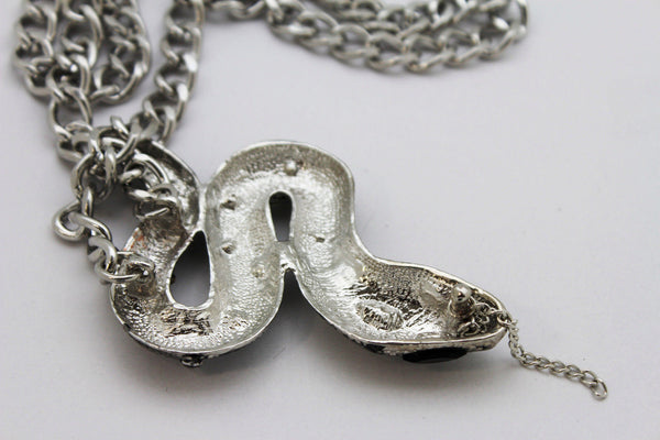 Chunky Silver Metal Chain Links Long Necklace Huge Snake Pendant 3D New Men Fashion Style - alwaystyle4you - 9