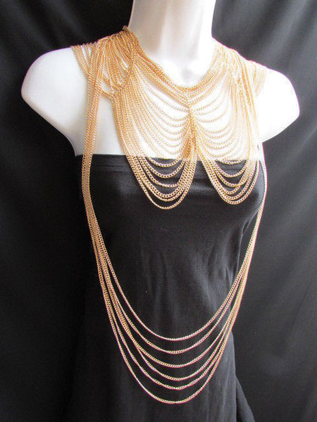 Long Gold / Silver Two Elegant Necklaces + Earring Set Thin Links New Women Fashion Jewelry - alwaystyle4you - 8