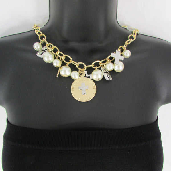 Gold Metal Chains Necklace Coin Cross Charms Imitation Pearls beads New Women Fashion - alwaystyle4you - 13