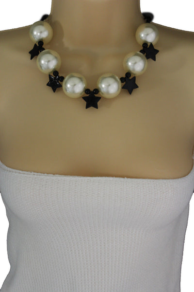 Black / Silver / Gold / Red / White Metal Stars Ball Beads Short Ivory Necklace + Earring Set New Women Fashion Jewelry - alwaystyle4you - 11