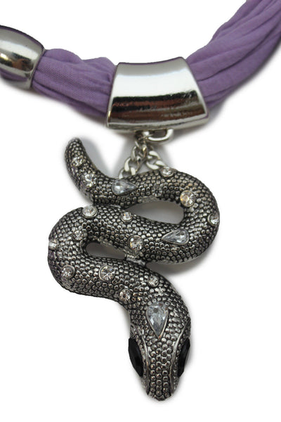 Women Lavender Fashion Scarf Fabric Silver Metal Snake Pendant Necklace Lilac - alwaystyle4you - 7
