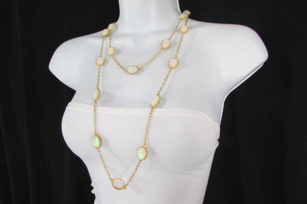 "Extra Long Gold Chains Shiny Cream Beads Fashion Necklace + Earrings Set New Women 26"" - alwaystyle4you - 11"
