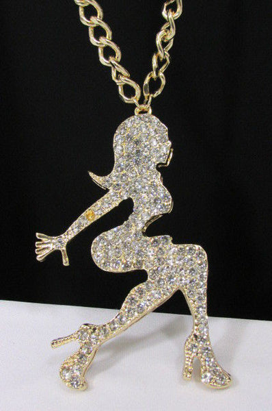 Gold Metal Chains Necklace Big Silver Sexy woman Shape Rhinestone Pendant New Men Fashion Accessories