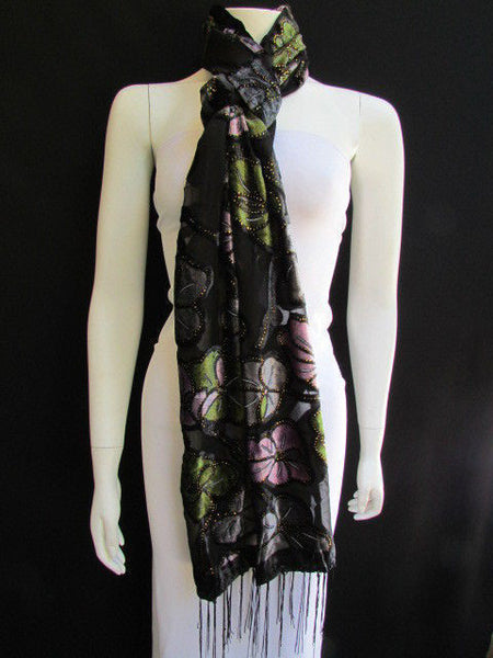 Black Long Fabric Neck Scarf Metallic Big Flowers Faux Velvet New Women Fashion Fashion - alwaystyle4you - 6