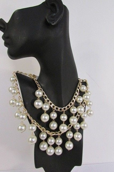Gold Metal Long Double Chains 2 Strands Big Pearl Beads New Women - alwaystyle4you - 5