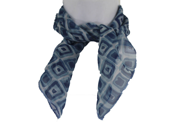 Green Blue Small Neck Scarf Fabric Geometric Square Print Pocket Square New Women Fashion - alwaystyle4you - 7