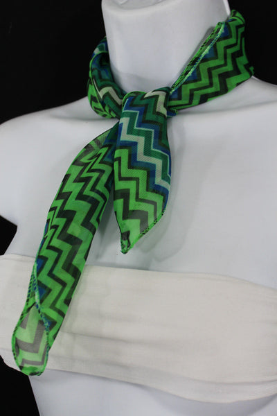 Bright Green Neck Scarf Fabric Black Chevron Print Pocket Square New Women Accessories Fashion - alwaystyle4you - 4