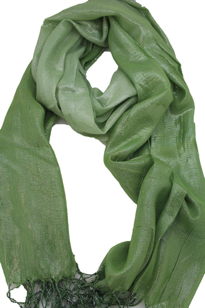Green Neck Scarf Long Soft Fabric Tie Wrap Classic Bright Shiny New Women Jewelry Accessories - alwaystyle4you - 7