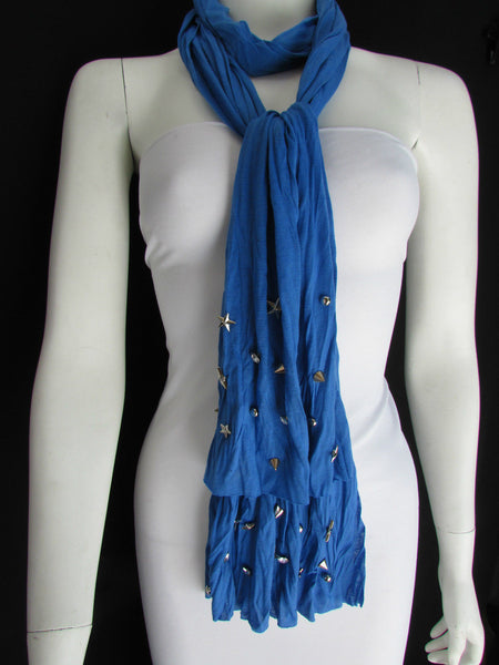New Women Soft Fabric Fashion White / Blue /  Gray / Black Scarf Long Necklace Silver Metal Stars Studs - alwaystyle4you - 19
