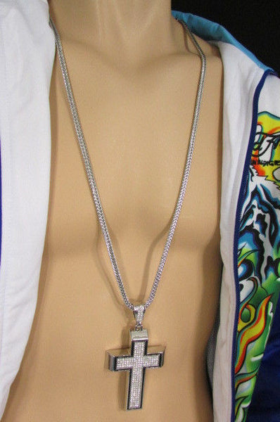 Pewter / Silver Metal Chains Long Necklace Boarded Cross Pendant New Men Hip Hop Fashion - alwaystyle4you - 12