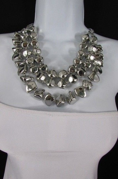 Long Shiny Silver Plastic Beads 3 Strands Fashion Necklace + Earring Set New Women - alwaystyle4you - 12