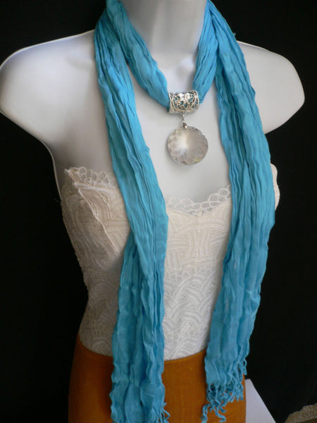 Light Blue Necklac Scarf Big Silver Crystal Flower Pendant Glass New Women Fashion - alwaystyle4you - 10
