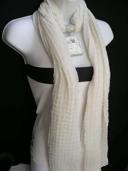New Women Accessories White Poofy Soft Fashion Scarf Necklace Big Square Bead Pendant - alwaystyle4you - 9