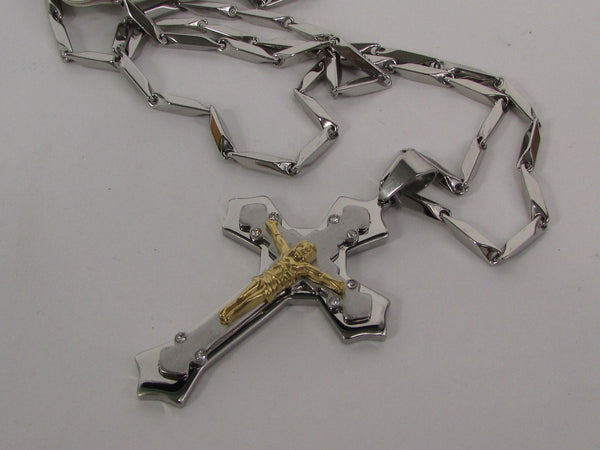 Black Silver Or Gold Cross Pendant New Men Silver Stainless Steel Jesus Christ Metal Chain Necklace - alwaystyle4you - 31