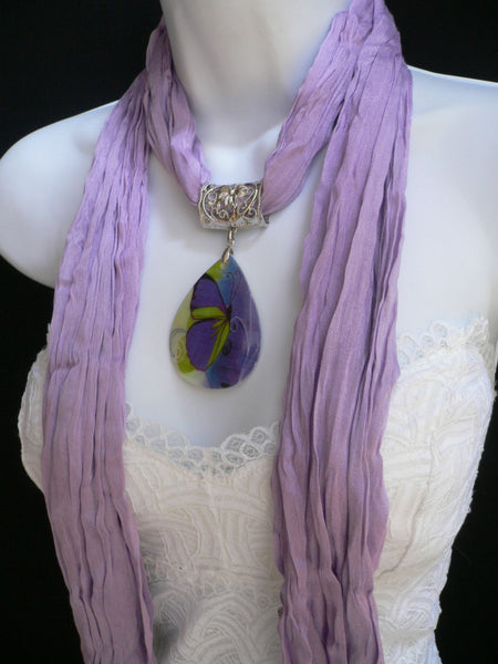 Lavander Scarf Necklace Big Seashell Pendant Purple Butterfly New Women Fashion - alwaystyle4you - 7
