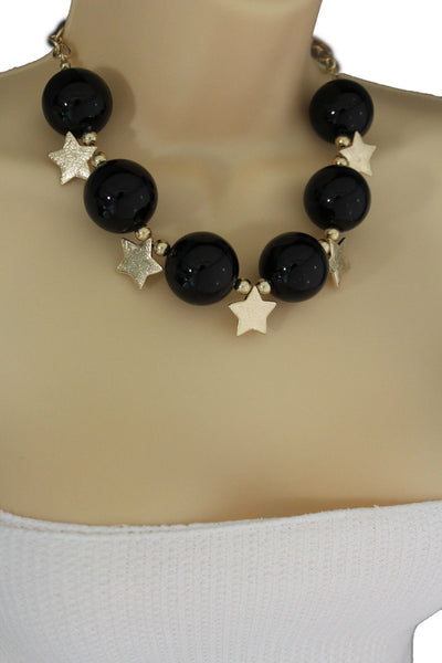 Black / Silver / Gold / Red / White Metal Stars Ball Beads Short Ivory Necklace + Earring Set New Women Fashion Jewelry - alwaystyle4you - 23