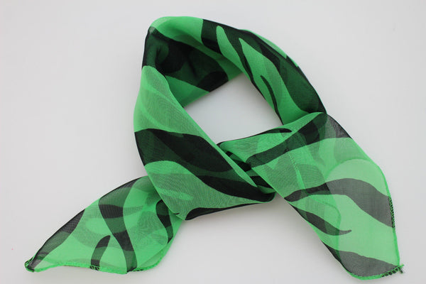 Green Neck Scarf Fabric Black Zebra Animal Print Pocket Square New Women Fashion - alwaystyle4you - 7