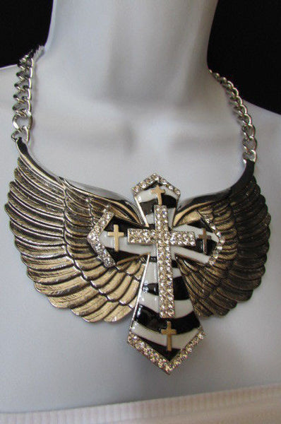 Silver Metal Chains Big Bow Zebra Angel Wings Black Cross Stripes Rhinestones Pendant Necklace New Women Accessories