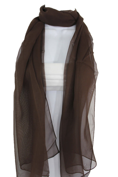 Dark Brown Dark Green Dark Blue Brown Neck Scarf Long Soft Sheer Fabric Tie Wrap Classic New Women Fashion - alwaystyle4you - 7
