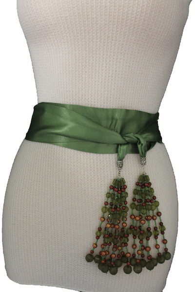 Cream - Off White / Light Purple / Green Long Tie Fringe Beads Hip Waist Belt Scarf New Women Fashion Accessories - alwaystyle4you - 33
