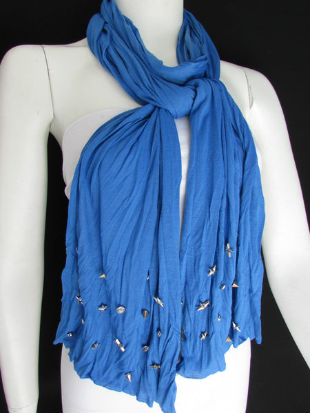 New Women Soft Fabric Fashion White / Blue /  Gray / Black Scarf Long Necklace Silver Metal Stars Studs - alwaystyle4you - 13