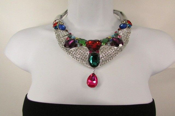 Silver Metal Multicolor Alloy Charm Bib Necklace New Women Fashion Jewelry - alwaystyle4you - 3