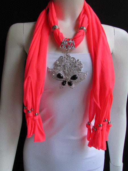 Black Blue Purple Pink Brown Dark Gray Red Bright Coral Green Soft Fabric Scarf Necklace Silver Flowers Butterfly Pendant New Fashion Accessory - alwaystyle4you - 71