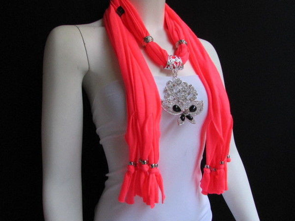 Black Blue Purple Pink Brown Dark Gray Red Bright Coral Green Soft Fabric Scarf Necklace Silver Flowers Butterfly Pendant New Fashion Accessory - alwaystyle4you - 72
