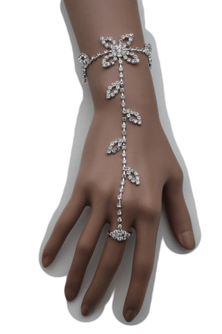Hot Silver Metal Hand Chains Bracelet Slave Ring Floral Leaf Flower Lace Rhinestones New Women Fashion Accessories