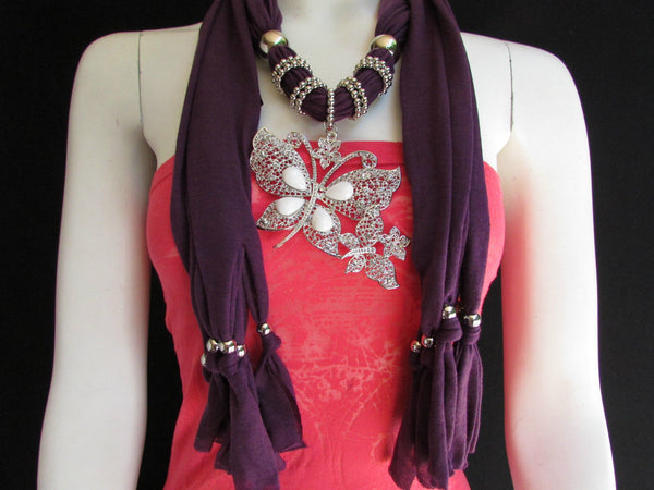 Dark Gray Blue Orange Red Brown Purple Pink Green Soft Fabric Scarf Long Necklace Huge Butterfly Pendant New Women Fashion - alwaystyle4you - 74