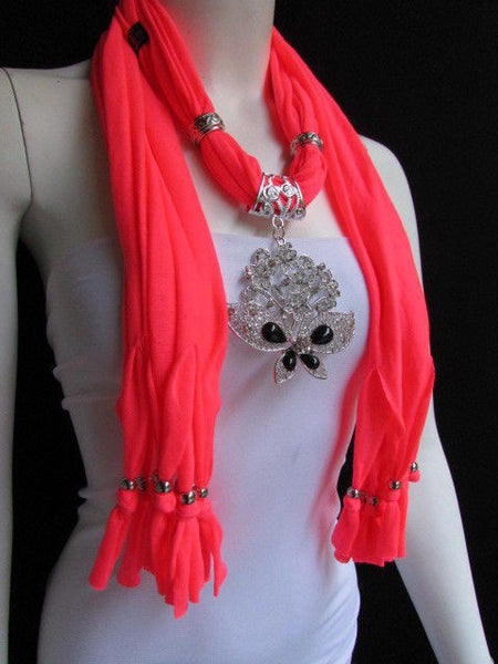 Black Blue Purple Pink Brown Dark Gray Red Bright Coral Green Soft Fabric Scarf Necklace Silver Flowers Butterfly Pendant New Fashion Accessory - alwaystyle4you - 74