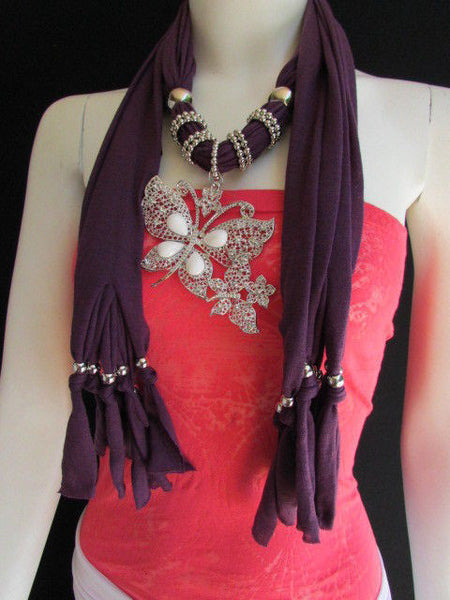 Dark Gray Blue Orange Red Brown Purple Pink Green Soft Fabric Scarf Long Necklace Huge Butterfly Pendant New Women Fashion - alwaystyle4you - 75