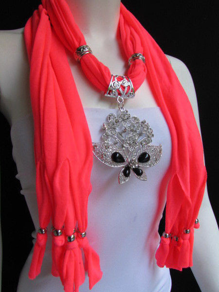 Black Blue Purple Pink Brown Dark Gray Red Bright Coral Green Soft Fabric Scarf Necklace Silver Flowers Butterfly Pendant New Fashion Accessory - alwaystyle4you - 75